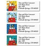 PEANUTS Snoopy Four Seasons Small Return Address Labels (4 Designs) - Set of 240 2' x 5/8' Self-Adhesive, Flat-Sheet labels