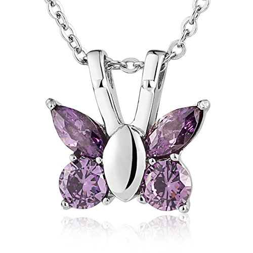 aooaz joyas acero inoxidable mariposa urna colgante collar cenizas memorial Cadena, lila para mujer
