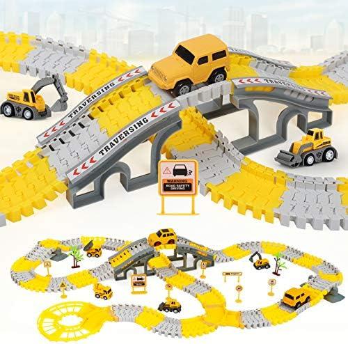 iHaHa 236PCS Construction Race Tracks for Kids Boys Toys 6PCS Construction Car and Flexible product image