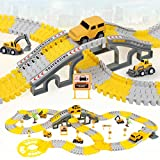 iHaHa 236PCS Construction Race Tracks for Kids Boys Toys, 6PCS Construction Car and Flexible Track...