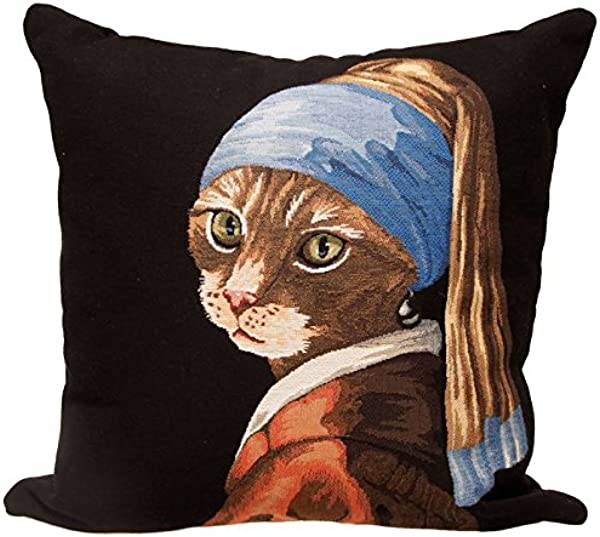 Authentic Jacquard Cotton Woven Gobelin Belgian Tapestry Throw Pillow Covers Decorative Gifts Home Decor Cushion Cases Protector 18X18 In Vintage Cat With A Pearl Earring Johannes Vermeer