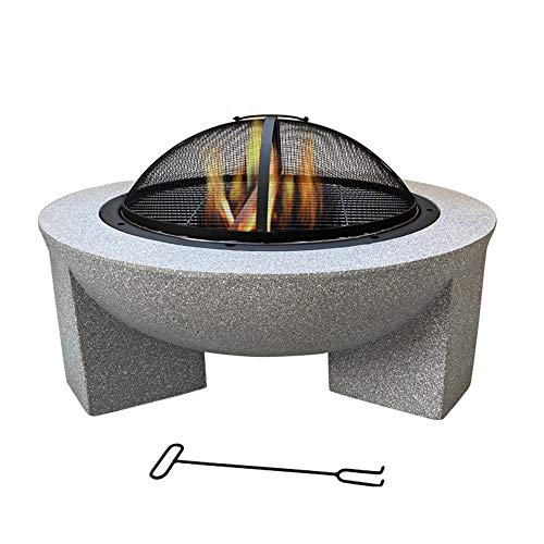 FMXYMC Outdoor Barbecue BBQ Grill Table, Raise Fire Pit Round Table, with/Deep Fire Bowl/Net Cover/Chrome Grilled Wire Mesh/Black Charcoal Tray