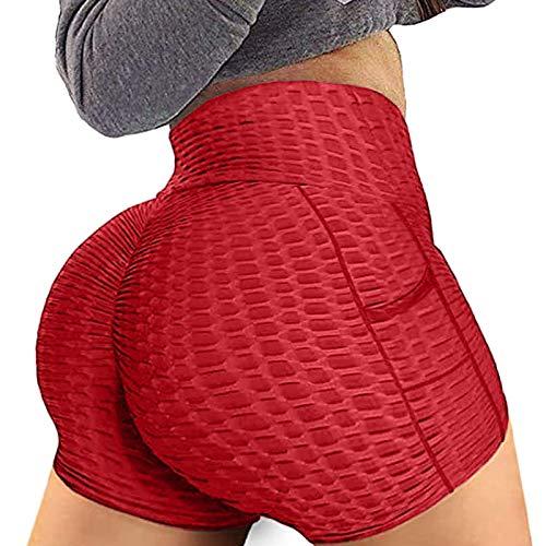 Liably Femmes Sport Pocket Loose Casual Shorts Yoga Pantalons Pure Color Pantalons Sport Leggings Pantalon Active Pantalon Longueur Pleine Longueur pour l'entraînement Fitness - Rouge - XX-Large