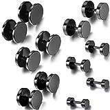 Aroncent Fake Plug Ohrringe Schwarz, Hantel Kreis Ohrstecker, 4/6/8/12/14mm, 12PCS, Schwarz