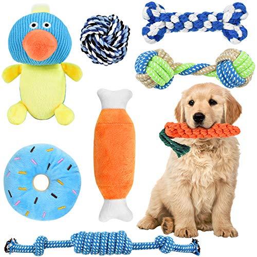 ERKOON Welpenspielzeug 8 Stück Hundespielzeug Unzerstörbar Kauspielzeug Langlebiges Hundezubehör Quietschspielzeug Naturbaumwolle & Ungiftig für Große und Kleine Hunde