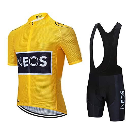 Maglia Ciclismo Uomo Manica Corta, Abbigliamento Sportivo Da Ciclismo Con Pantaloni Ciclismo Salopette Asciugatura Rapida Per MTB Ciclista Completo Ciclismo Squadre (Giallo,XL)
