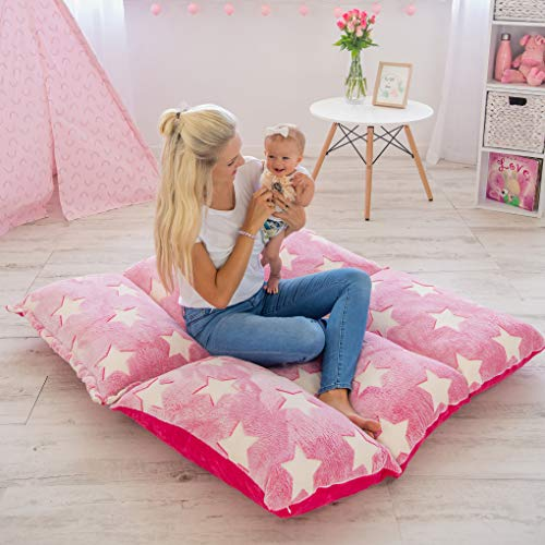COLUX 3 in 1 Premium Glow in The Dark Floor Pillow Cover for Kids. Cover ONLY. Pillow Chair Lounger for Boys & Girls. Fold Out Chair Bed, Pillow beds, Kids Couch, fold Out Sofa Bed, Teen Body Pillow