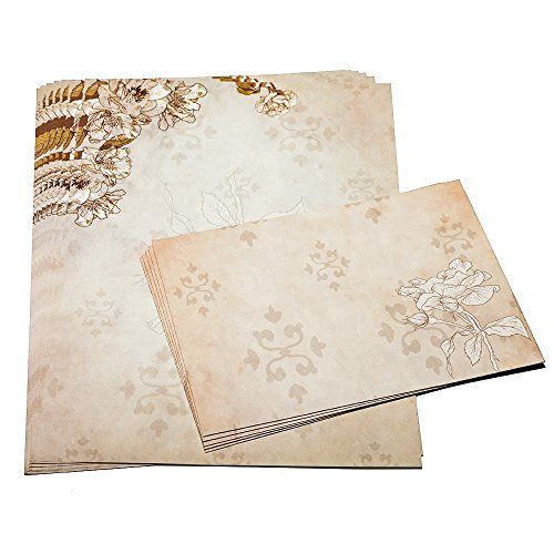 Dahey 30Pcs Vintage Stationery Floral Writting Paper Matching Envelopes Sets for Handwriting Letters, Assorted Colors