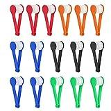 16 Stück Gläser Mikrofaser-Reiniger-Set, Mini-Gläser weiche Bürsten-Reinigungs-Clip, tragbare 5 Farbe, Gläser Reinigungswerkzeug für Sonnenbrillen, Lesebrillen