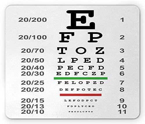KKs-Shop Mauspad für Augenmuscheln, Schild für Okular-Tests oder Medizinische Kontrolle, Mauspad aus Gummi, rutschfest, rechteckig