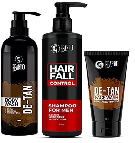 Beardo Bath and Body Combo with Hairfall Control Shampoo, De-tan Facewash and De-tan Bodywash (Pack of 3) | Made in India