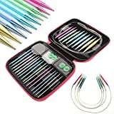 4-inch Interchangeable Aluminum Circular Knitting Needle Kit double pointed 2.75mm-10mm With Zipper Storage