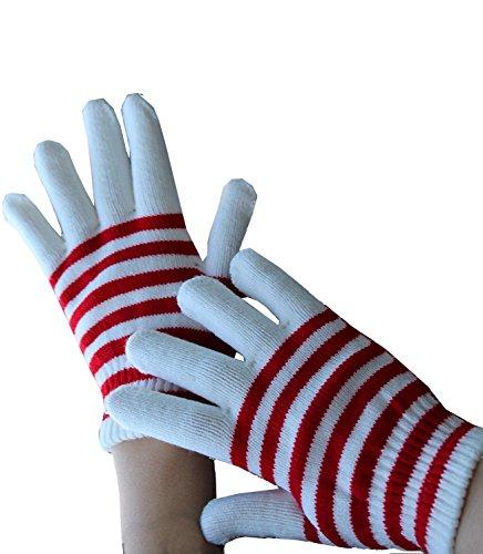 Handschuhe gestrickt in weiß-rot, Kölle Alaaf Fasching Kölner Karneval Clown Winteraccessoire kalte Jahreszeit