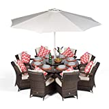Arizona Luxury Rattan Dining Set | Round 8 Seater Brown Rattan Dining Set | Outdoor Poly Rattan Garden Table & Chairs Set | Wicker Garden Dining Furniture with Parasol, Cover & Lazy Susan