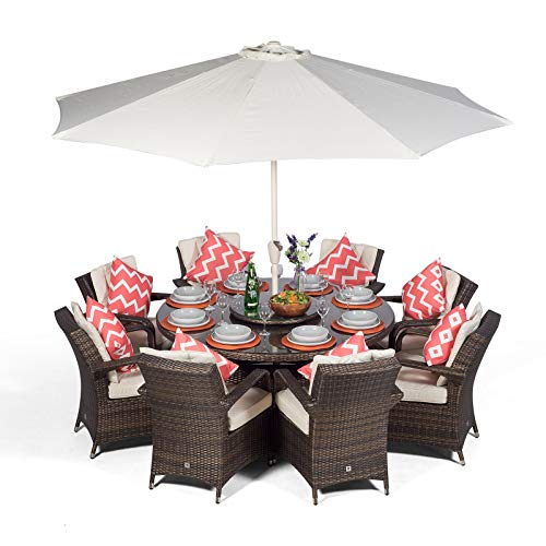 Arizona Rattan Dining Set | Round 8 Seater Brown Rattan Dining Set | Outdoor Poly Rattan Garden Table & Chairs Set | Wicker Garden Dining Furniture with Parasol, Cover & Lazy Susan