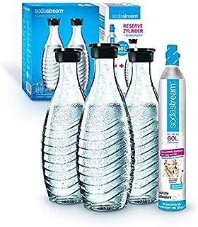 Soda Stream Pack promopack cylindre avec carafes en verre (1 cylindre de CO2 pour 60 l et 3 carafes en verre de 0,6 l, pou...