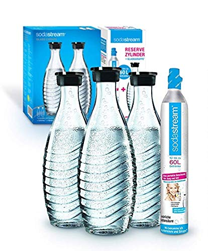 Soda Stream Pack promotionnel cylindre avec carafe en verre (1 cylindre de CO2 pour 60 l et 3...