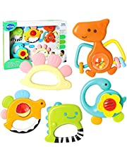 HOLA Baby Rattle Teether Set, Infant Dinosaur Rattle Toys, Grab and Spin Shaker, Silicone Teething Sensory Toy, Newborn Shower Gifts for 3 6 9 12 Month Boys Girls