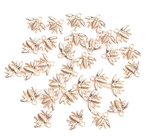 Ruwado 30 Pcs Bee Charm Small Vintage Cute Metal Honey Bee Pendant Beads for Jewelry Making Finding DIY Craft Project Bracelet Necklace Earring Keychain Decoration (KC Gold)
