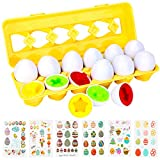 Allnice Matching Eggs and Easter Sticker Set 12 Pcs Easter Eggs Toddler Toys 6Pcs Egg Stickers Color Shape Learning Educational Toys for 1-3 Years Old Kids Toddler Boys Girls