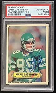 Mark Gastineau Signed 1983 Topps Sticker Football Card Autograph NY Jets - PSA/DNA Certified - NFL Autographed Football Cards