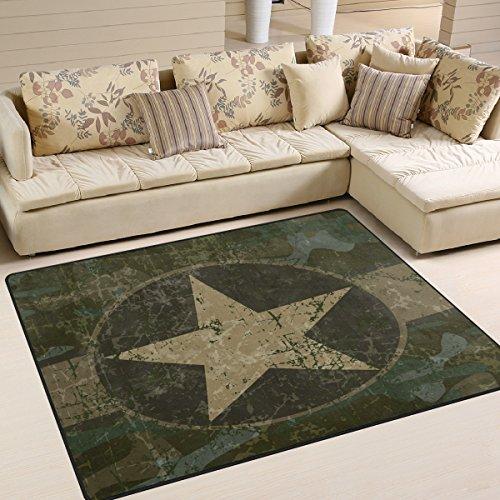 Use7 Vintage Militär Camouflage Star Area Teppich für Wohnzimmer Schlafzimmer 160 cm x 122 cm
