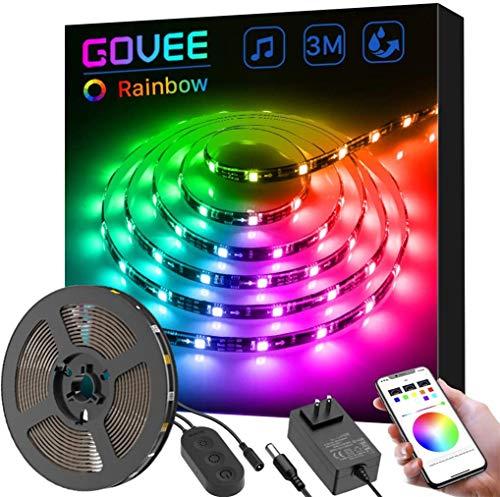 Govee DreamColor LED Streifen mit eingebautem IC, 3m RGB LED Strips Sync mit Musik, wasserdichte LED Kette mit APP, 5050 flexibler LED Schlauch LED Stripes mit Netzteil für Deko Party Weihnachten