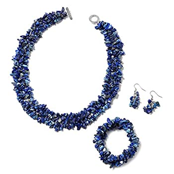 SHOP LC DELIVERING JOY Lapis Lazuli Chips Stretch Bracelet Earrings Necklace Stainless Steel Fashion Jewelry Gifts Sets for Women Size 18  Gifts for Women