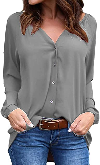 Camisa Lisa Mujer Botones Blusa Plisada de Manga Larga Suelta ...