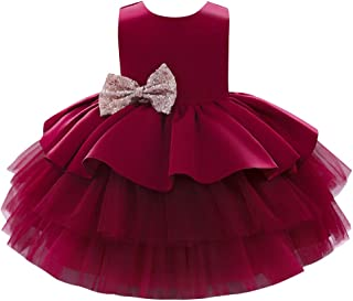 Toddler Baby Flower Girls Sequins Bowknot Tutu Dress Princess Pageant Wedding Birthday Party Backless Puffy Tulle Gown