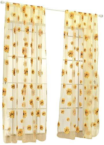 WINOMO - Tenda trasparente per finestra, semi superiore, per camera da letto, soggiorno, 100 x 270 cm, colore: giallo