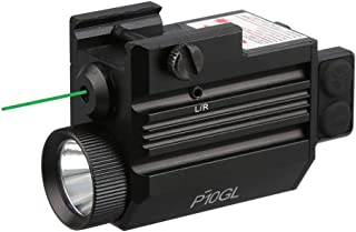 HiLight P10GL Series 500 lm Strobe Pistol Flashlight & Green Laser Sight Combo (USB Rechargeable: Built-in Battery + USB Charger) for Compact Pistols