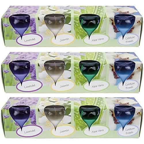 HS Candle Duftkerzen Selection 12er Pack im Glas, lange Brenndauer und angenehmer Duft (Floral Selection)