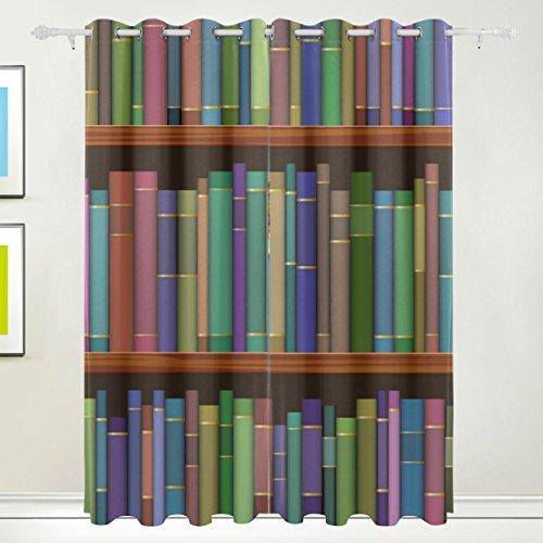 TIZORAX bibliotheek planken met oude boeken gordijnen kamer donker maken thermische verduistering venster paneel Drapes voor huisdecoratie 84