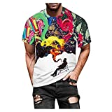 Spritumn-Home Camisa de Manga Corta 3D Estampada Hombres Tops Casual Blusa de Chaleco Ajustada Camiseta Elegante Medias Deportivas Blusa de Fitness Cuello Redondo Barato