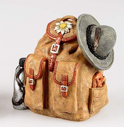 Formano Spardose mit Stopfen ca.10cm Wanderrucksack aus Kunststein gefertigt, handbemalt und mit vielen Details verziert