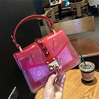 Adebie - Fashion Female Transparent Shoulder Bags Cross Body Bag 2019 Brand Designers Gradual Change Women Handbag Purses PU Chains Rivet Red []