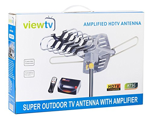 ViewTV UPGRADED 2020 Version Outdoor Amplified Digital HDTV Antenna - up to 150 Mile Range - Motorized 360° Rotation - New Wireless Remote Control - Free Mini Indoor Antenna