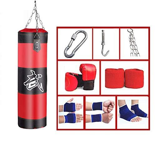 POEO Boxsack Set Gefüllt Mit Boxhandschuhen, Drehwirbel und Stabiler Aufhängung, Boxen mit Kette Training Handschuhe Kampfsport Schwer Junior Punching Bag