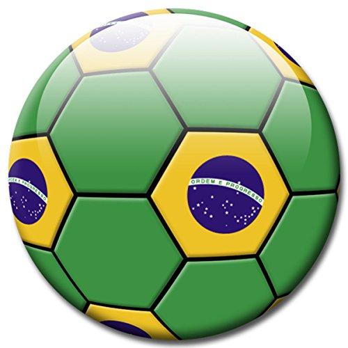 GUMA Magneticum Voetbalfan, magneet, landenvlag, Brazilië, Ø 5 cm, koelkastmagneet met innovatief motief voor magneetbord, notitiebord, memoboard, whiteboard, originele magneten