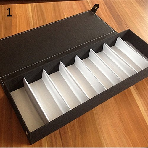 XKMY Estuche para gafas, 8 cuadrículas, para gafas, gafas de sol, caja de almacenamiento, organizador para reloj (color: tipo C negro)
