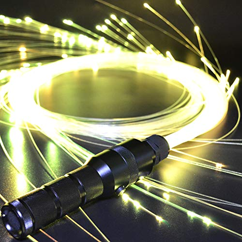 Fiber Optic Whip Space LED Light Up Rave Toys EDM Flow Sparkle Dance Festival 360 Degree Swivel Super Bright 40 Display Modes