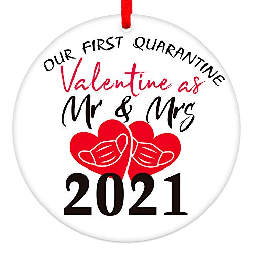 SICOHOME Our First Quarantine Valentine As Mr & Mrs 2021,3' Face Mask Ornament Married Wedding Ornament for Mr & Mrs Newlywed Boyfriend Girlfriend