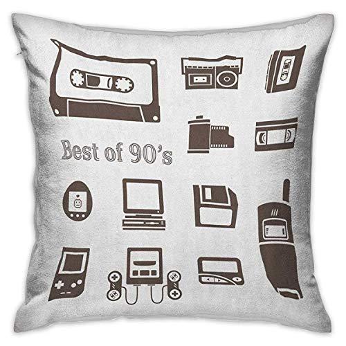 90s Square Slip Funda de almohada Gadget of 90s Icons Patrón con computadora de escritorio Videojuego Joystick Nostalgia Theme Print Fundas de cojín marrones Fundas de almohada para sofá Dormitorio Co