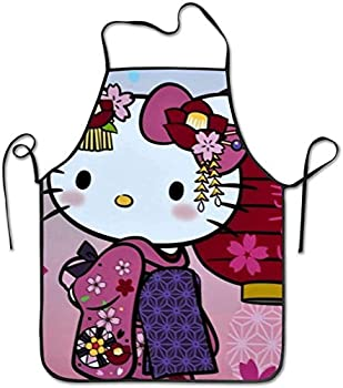 JUCHen Hello Kitty Kimono Cos Funny Apron Chef Kitchen Cooking Apron Bib Grilling Comfortable