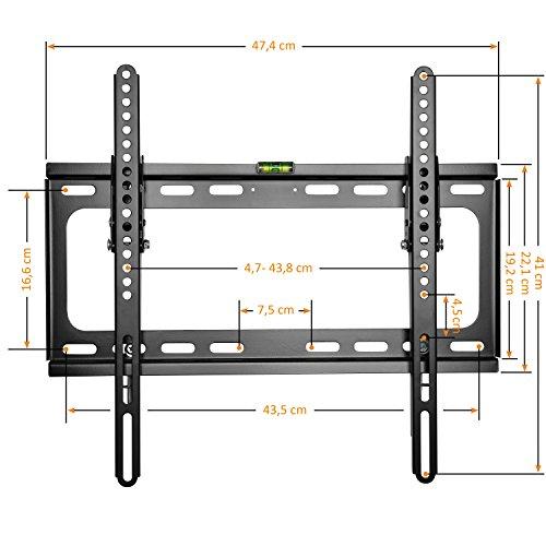 TRESKO LCD TV Plasma Wandhalter neigbar kippbar Wandhalterung Universal Fernseher VESA Halterung Fernsehhalterung LED Flachbildschirm ca. 51 – 138cm (20 – 55″) VESA 50×50-400×400 | Wandabstand nur 30 mm | stufenlos neigbar bis 15° | inkl. Wasserwaage und Schrauben für die Wandmontage - 2