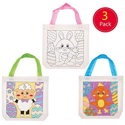Baker Ross AT517 Baker Ross Pasen stof schoudertassen knutselset voor kinderen om in te kleuren (3 stuks) creatieve sets voor knutselen en decoreren in de lente