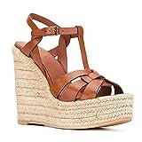 LANTUI Sandalias Tacón De Cuña para Mujer Sandalias Informales De Verano con Punta Abierta para Mujer Zapatos De Aumento De Moda con Plataforma Y Correa En El Tobillo,Brown-46