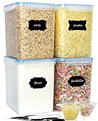 buways Food Storage Containers - Extra Large Airtight Kitchen Storage Containers (5.2L/176oz) 4PC, BPA-Free Pantry Bulk Food Canisters for Flour, Sugar, with 2 Measuring Cups - 24 Labels & Pen