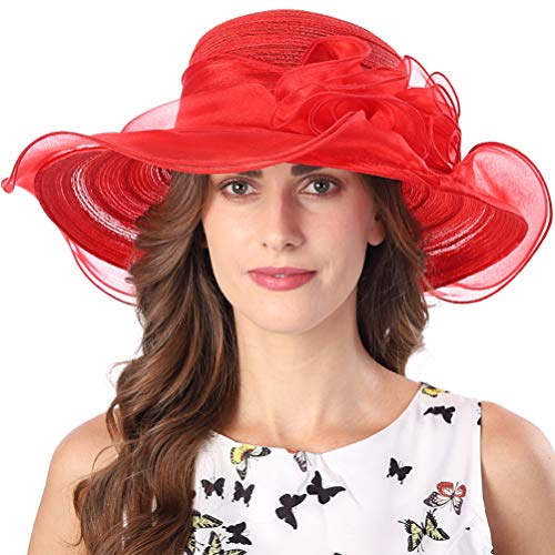 FORBUSITE Church Hats for Women Kentucky Derby Tea Party Dress Hat Red